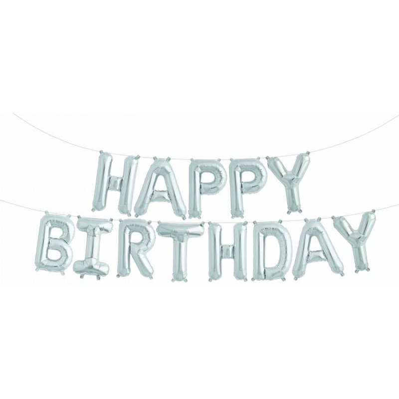 Foil word HAPPY BIRTHDAY SILVER 41cm 16""